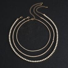 3 Stuecke Maenner Halskette mit Strass Dekor