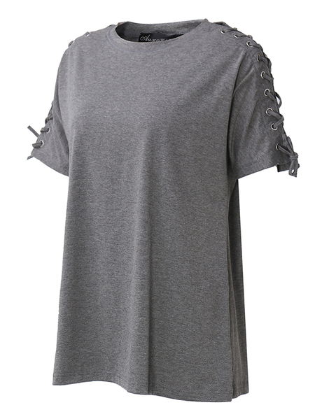 Yoins Auxo Grey Lace-up Design Round Neck Short Sleeves Tee