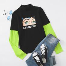 T-Shirt mit Kontrast Neon Ärmeln und Pop Art Muster