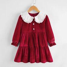 Samt Kleid mit Kontrast Spitze und Rueschenbesatz