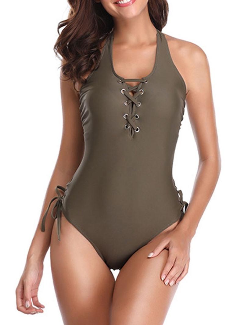 Ericdress Plain Bowknot Lace-Up Stretchy Sexy Swimwear