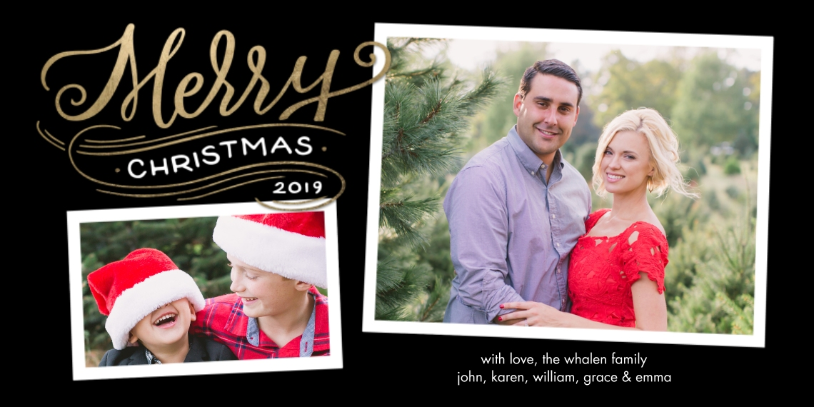 Christmas Photo Cards Flat Glossy Photo Paper Cards with Envelopes, 4x8, Card & Stationery -2019 Christmas Merry Modern by Tumbalina