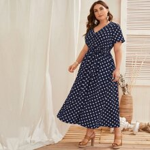 Plus Polka Dot Belted A-line Dress