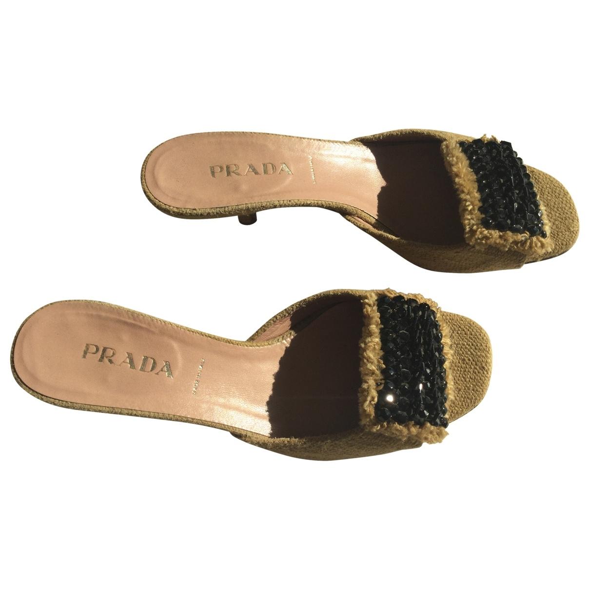 Prada \N Yellow Cloth Sandals for Women 35.5 IT