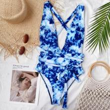 Tie Dye Knot Front Plunging One Piece Swimsuit
