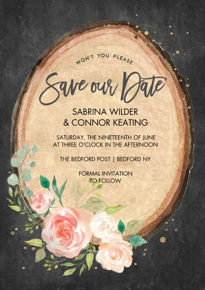 Save the Date 5x7 Cards, Premium Cardstock 120lb, Card & Stationery -Save the Date Wood Plaque