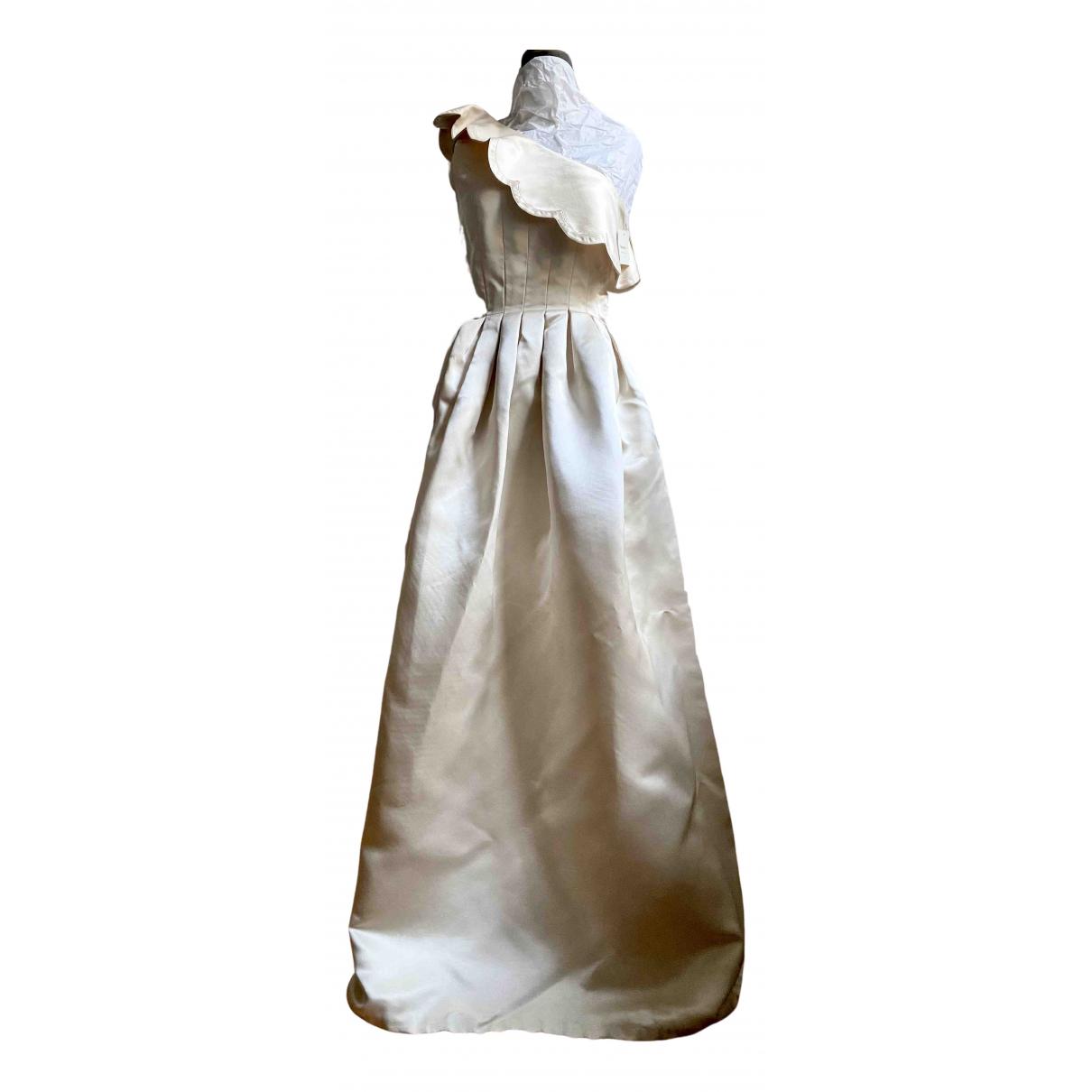 Non Signe / Unsigned \N Kleid in  Ecru Seide