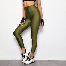 Wide Band Waist Solid Leggings