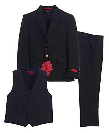 Boys 3 Piece Notch Lapel Single Breasted Black Vest Formal Suit