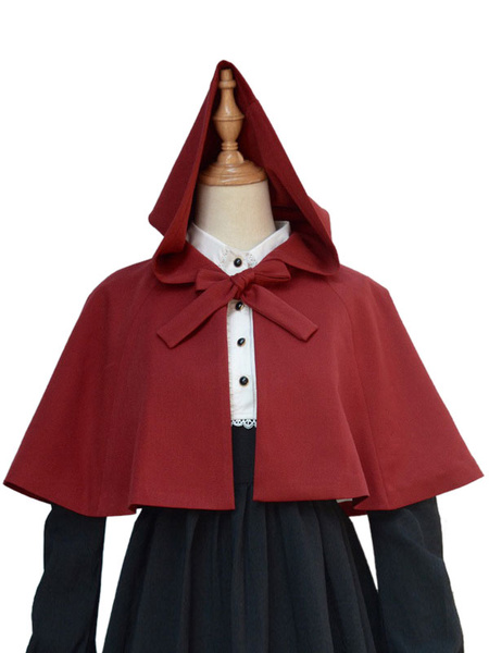Milanoo Gothic Lolita Clothing Bow Short Little Red Riding Hood Lolita Hooded Cloak