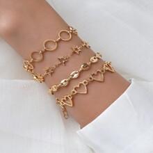 4 Stuecke Armband mit Herzen & Stern Dekor
