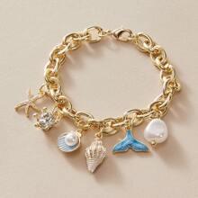 1pc Shell & Faux Pearl Chain Bracelet
