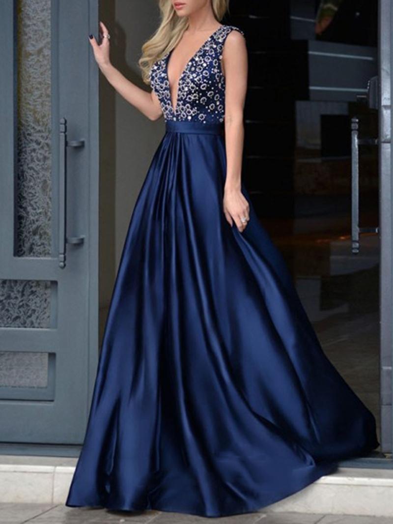 Ericdress Sleeveless Floor-Length Beading Evening Dress 2020