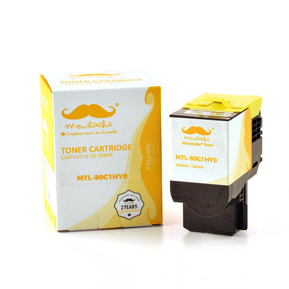 Lexmark 80C1HY0 cartouche de toner compatible jaune haute capacité - Moustache®