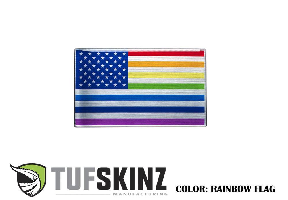 Tufskinz USA001-GTO-022-G USA Rainbow Flag Vehicle Emblem Metallac 3.75 X 2.25 Inch