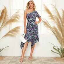 Kleid mit einer Schulter frei, asymmetrischem Saum und Blumen Muster