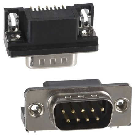 Norcomp 9 Way Right Angle PCB D-sub Connector Socket, 2.77mm Pitch, with 4-40 Flush Insert/Board Lock (90)