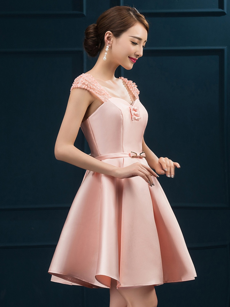Ericdress Cap Sleeve Pearl A-Line Short Homecoming Dress