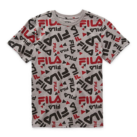 Fila Big Boys Round Neck Short Sleeve Graphic T-Shirt, Medium (10-12) , Gray