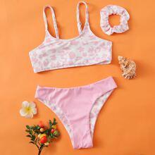 Girls Graphic Print Rib Bikini Swimsuit & Scrunchie