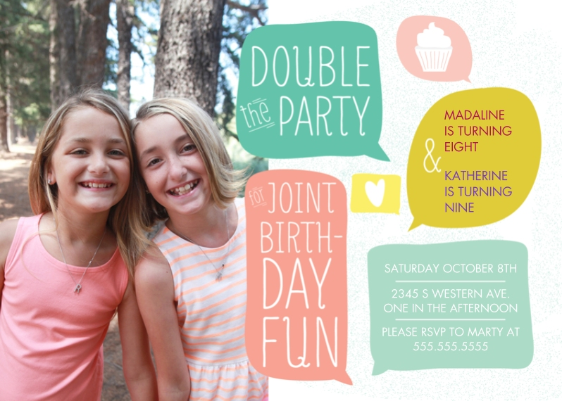 Kids Birthday Party Invites 5x7 Folded Cards, Standard Cardstock 85lb, Card & Stationery -Double the Party Joint Girl Bday