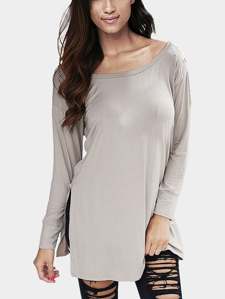 Yoins Grey V Pattern Back Lace Insert Hollow Out Staple Tees
