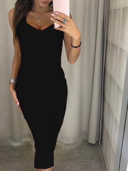 Yoins Sexy Split Design V-neck Sleeveless Dress