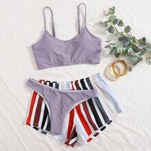 Solid Cami Bikini Swimsuit & Stripe Shorts