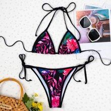 Floral & Tropical Triangle Tie Side Bikini Swimsuit