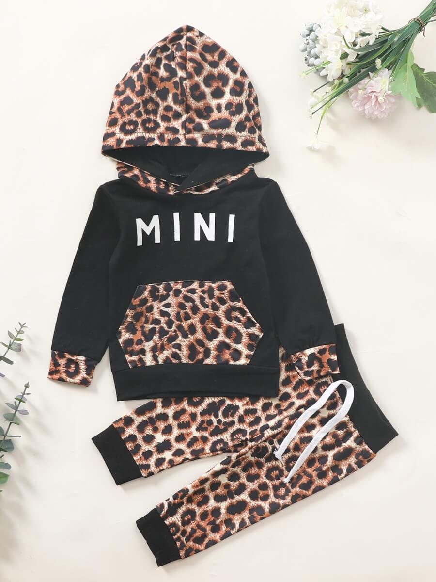 LW Lovely Sportswear Hooded Collar Leopard Print Patchwork Black Girl Two-piece Pants Set
