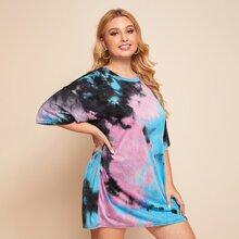 Camiseta larga de hombros caidos de tie dye