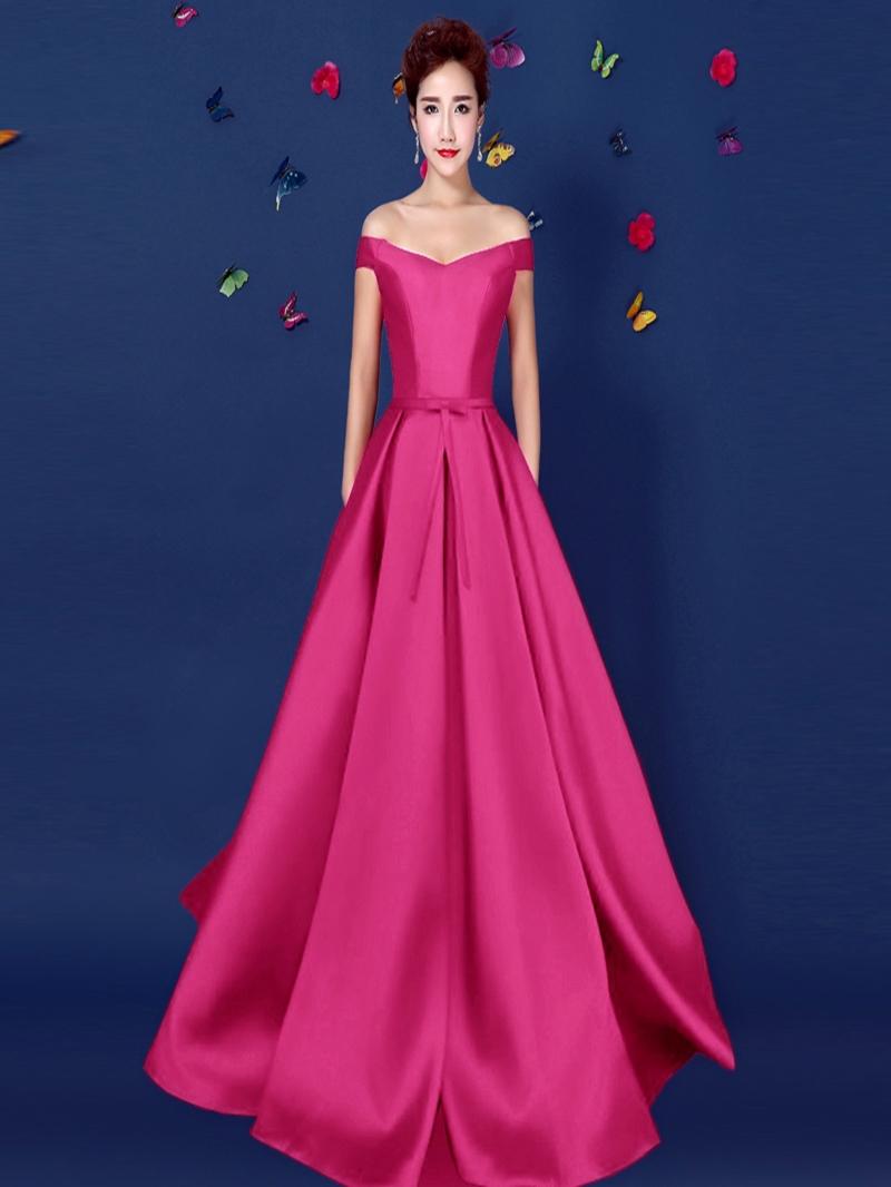 Ericdress Off-The-Shoulder A-Line Long Evening Dress