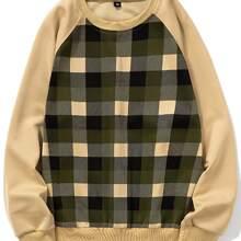 Men Plaid Print Raglan Sleeve Sweatshirt