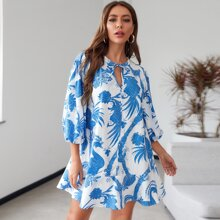 Tie Neck Floral & Peacock Print Ruffle Hem Dress