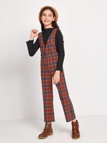 Girls Elastic Waist Tartan Suspender Jumpsuit