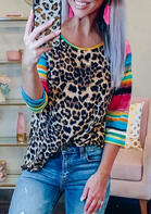 Leopard Serape Striped Splicing T-Shirt Tee