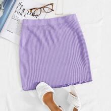 Lettuce Trim Textured Knit Skirt