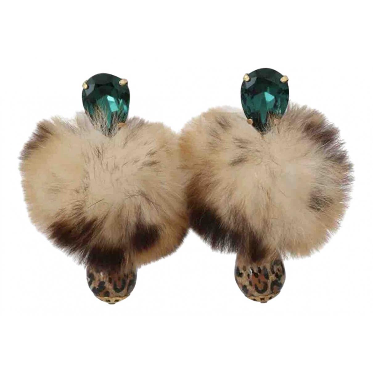 Dolce & Gabbana - Boucles doreilles   pour femme en fourrure - multicolore