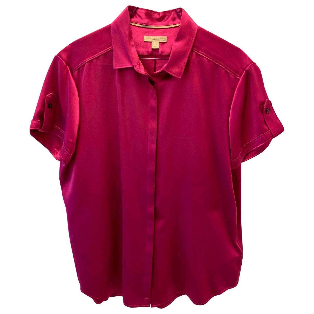 Burberry - Top   pour femme en soie - rose