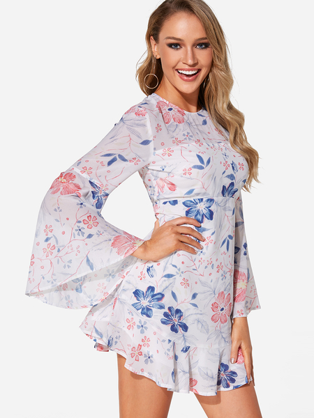 Yoins White Backless Design Random Floral Print Bell Sleeves Mini Dress