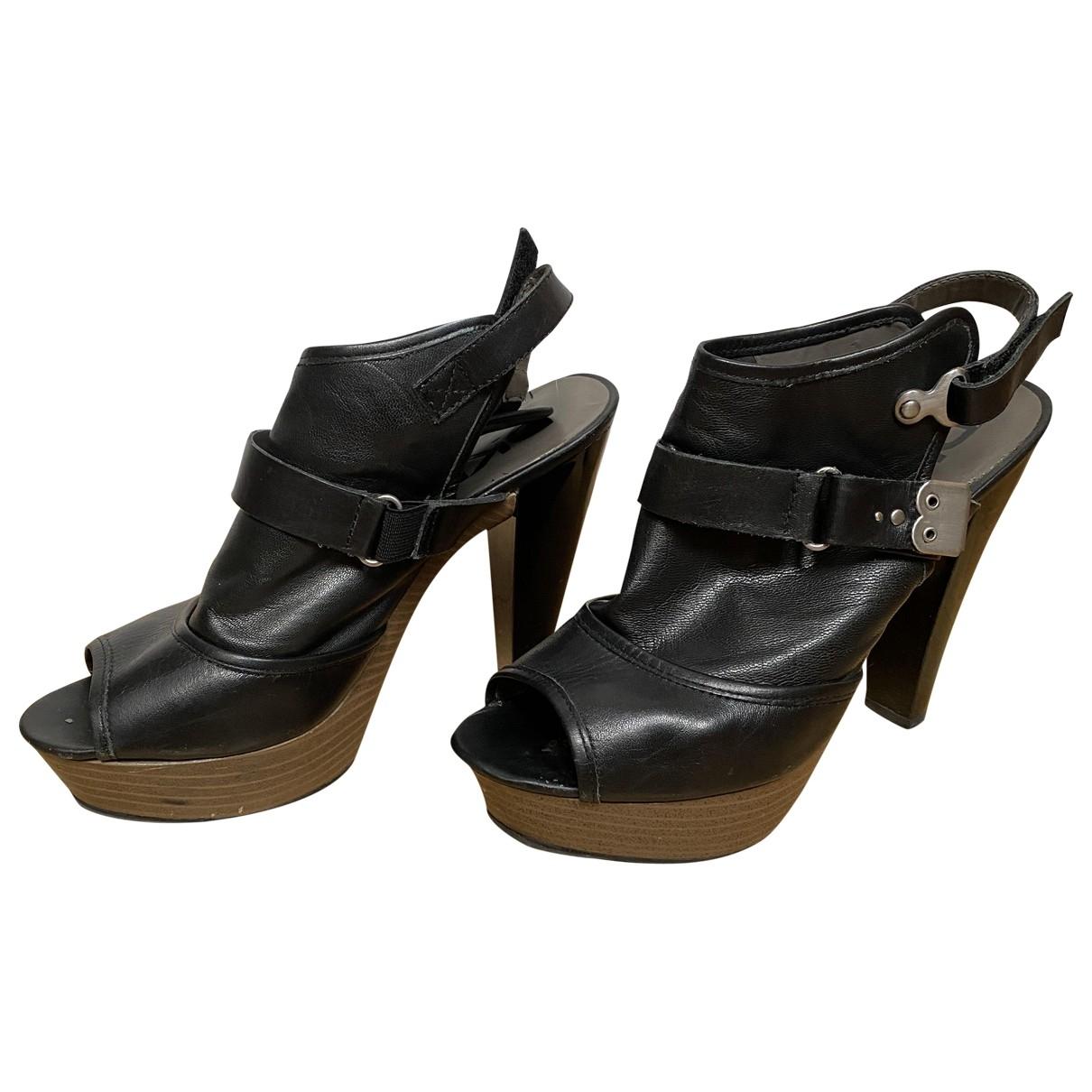 Dkny - Espadrilles   pour femme en cuir - noir