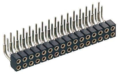 Preci-Dip , 833 2mm Pitch 16 Way 2 Row Right Angle PCB Socket, PCB Mount, Solder Termination (5)