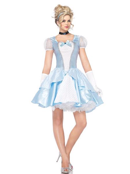 Milanoo Disfraz sexy de Halloween Princesa Cenicienta Aqua Vestidos cortos y guantes para mujeres