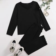 Plus Contrast Lace Scallop Tee With Pants