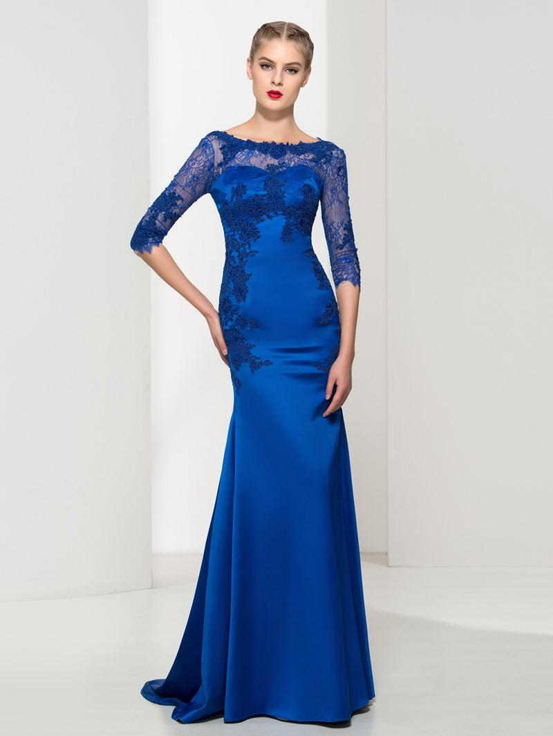 Ericdress Bateau Neck Appliques Mermaid Lace Evening Dress