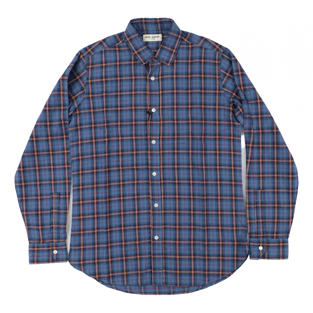 Saint Laurent \N Blue Cotton Shirts for Men 39 EU (tour de cou / collar)