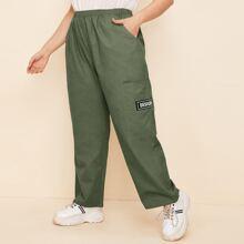 Plus Pocket Patch Letter Graphic Pants
