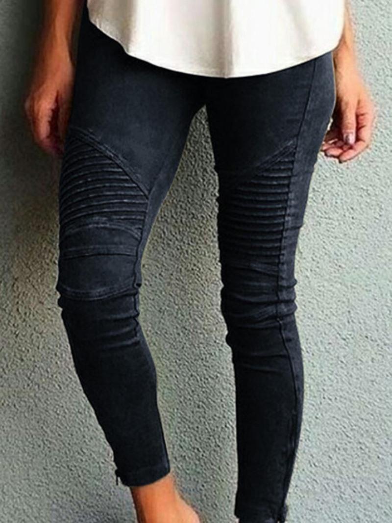 Ericdress Patchwork Plain Mid-Waist Leggings Pants
