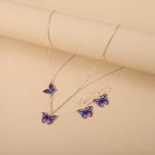 3 piezas set de joya con mariposa