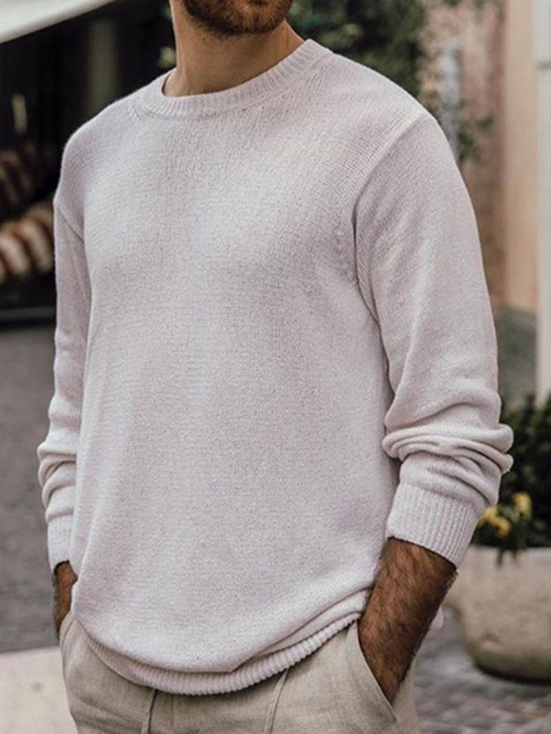Ericdress Plain Round Neck Standard Casual Fall Sweater